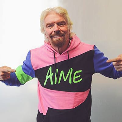 Branson in a AIME Hoodie