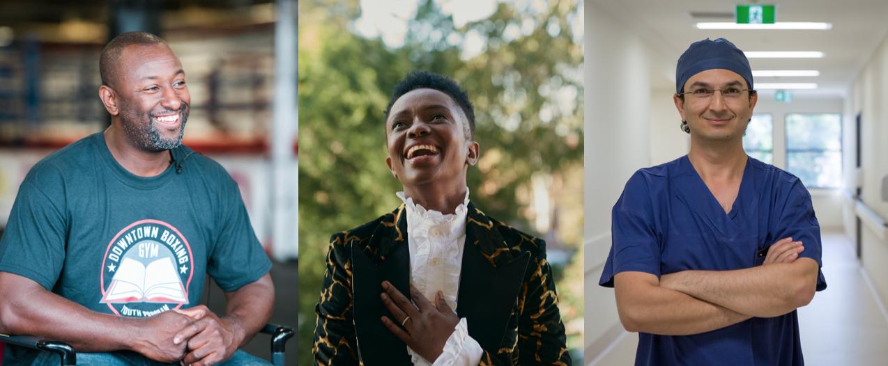 Sunday Kindness contributors: Khali Sweeney, Aminata Conteh-Biger & Munjed Al Muderis.